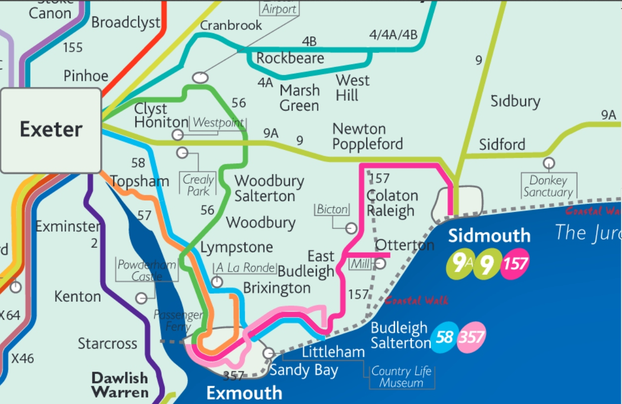 bus map for sidmouth