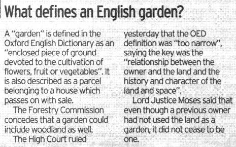 Definition of a garden - High Court 4 July 2008