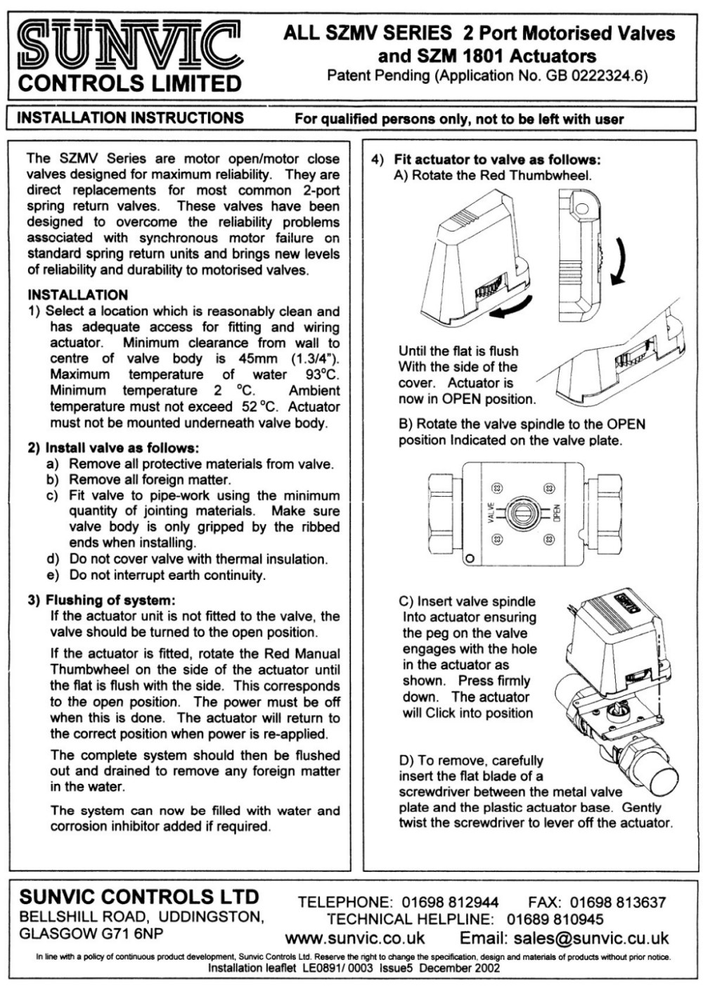 sunvic_scan2small sunvic installation leaflet sm1801 actuators sunvic motorised valve wiring diagrams at couponss.co
